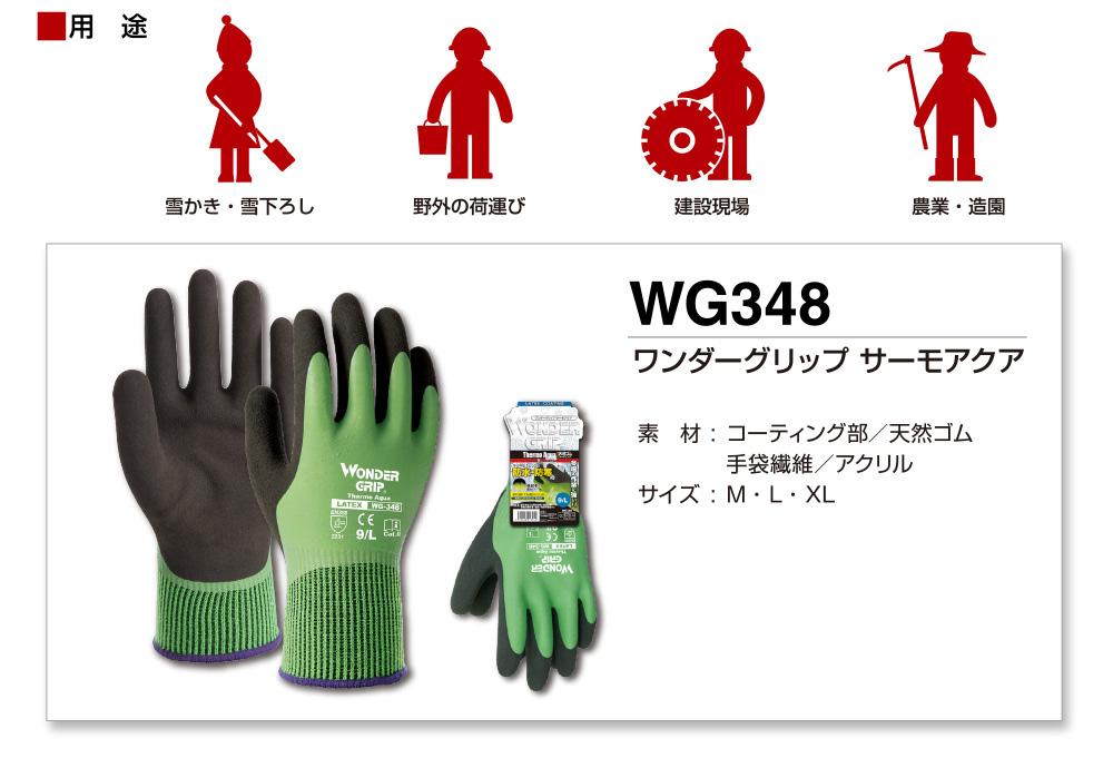 ワンダーグリップ サーモアクア 商品情報。天然ゴムコーティング手袋 用途:雪かき・雪下ろし、野外の荷運び、建設現場、農業・造園。